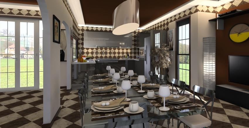 villetta a scacchi Interior Design Render