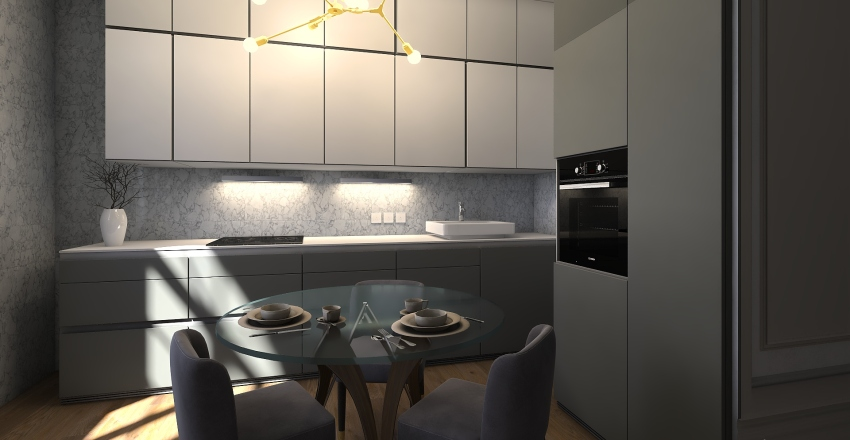 Gray kitchen Interior Design Render
