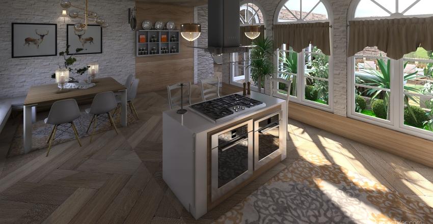 Wooden Showcase Interior Design Render