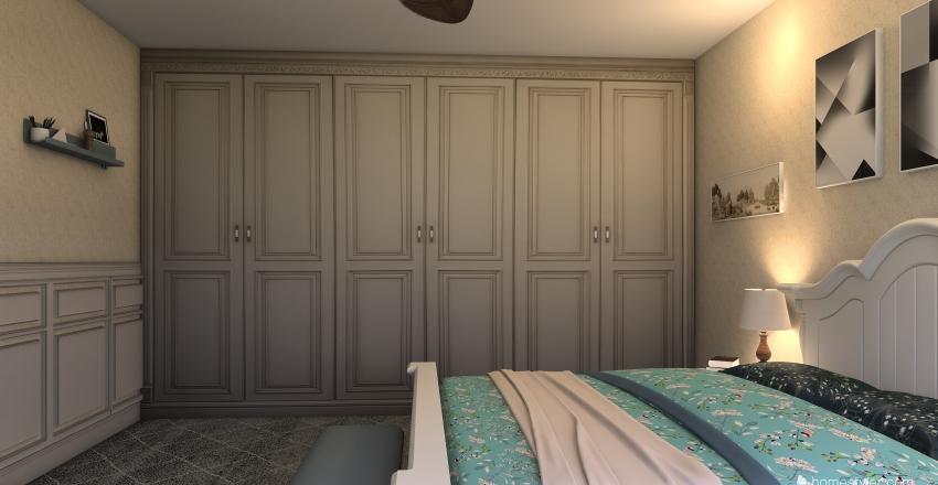 modern minimalist country bedroom  Interior Design Render