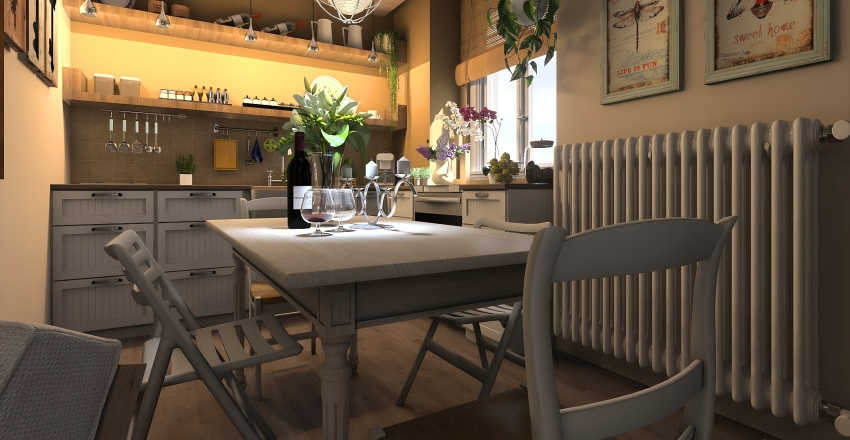 Monolocale decor in versione shabby chic Interior Design Render