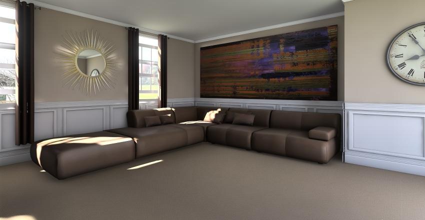 Bonus Room brown Interior Design Render