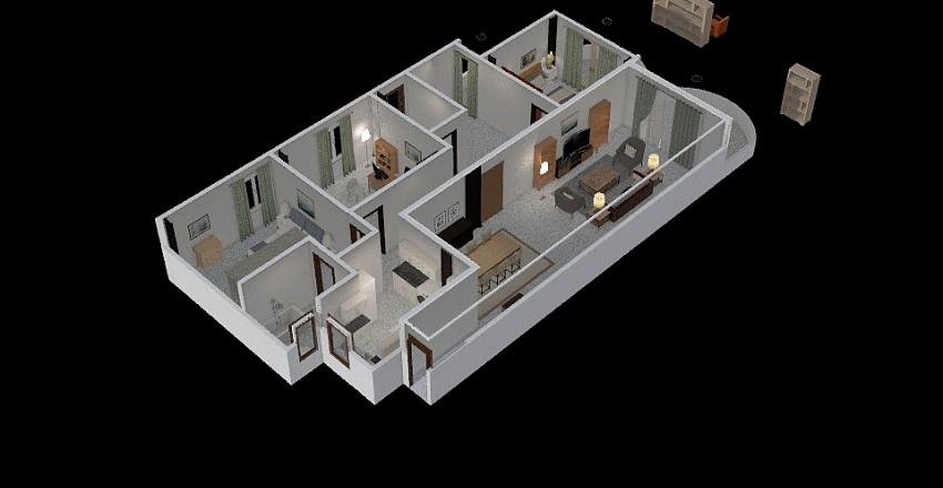 2 شقة الشروق Interior Design Render