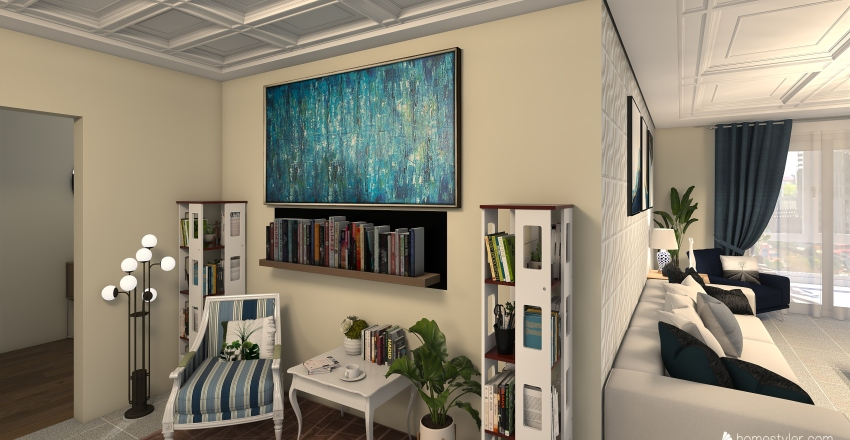 Hermosa casa de tres habitaciones Interior Design Render
