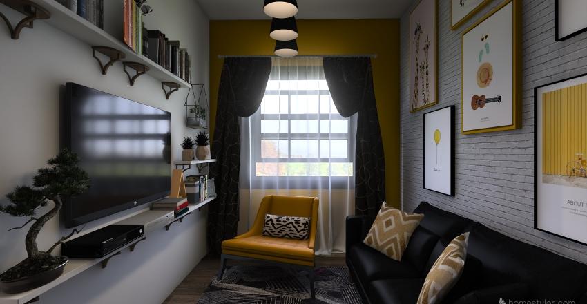 Monolocale con piccolo soppalco Interior Design Render