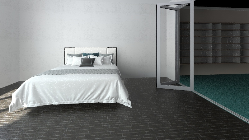 bed and study Interior Design Render