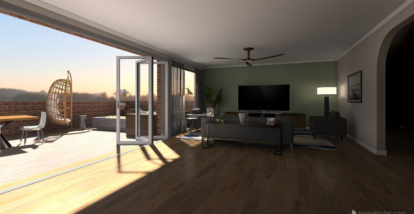 Downtown Apartment (3bed 3bath) Interior Design Render