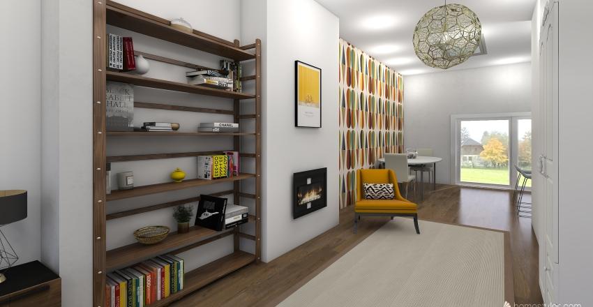1950s house Interior Design Render