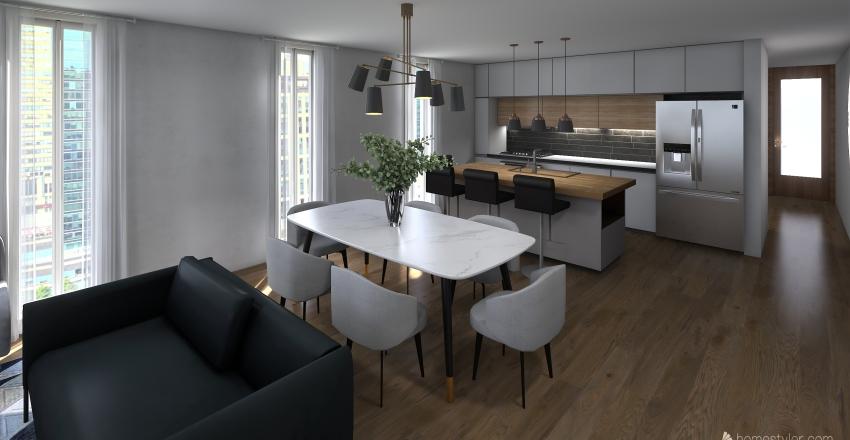 Área de día. Duplex principal Interior Design Render