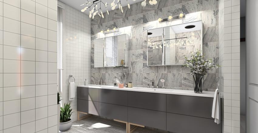 Three bed, two bath open plan house Interior Design Render