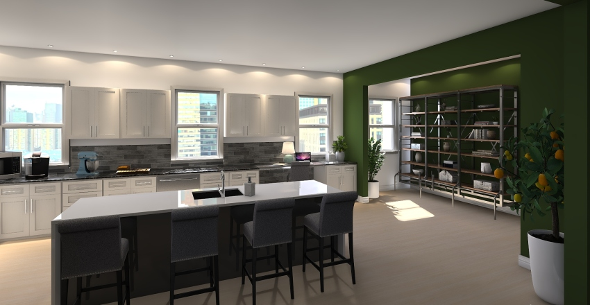 Family Penthouse Interior Design Render