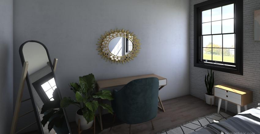 boho mid century Interior Design Render