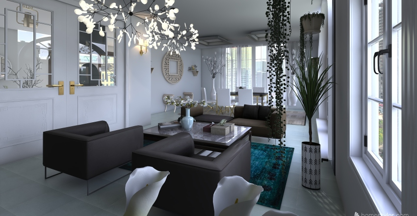 Living and Dining room and bedroom. Interior Design Render