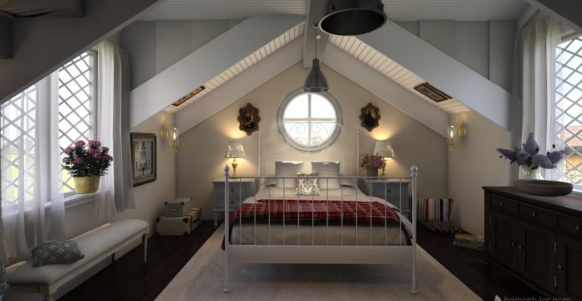 Tropical seaside cottage Interior Design Render