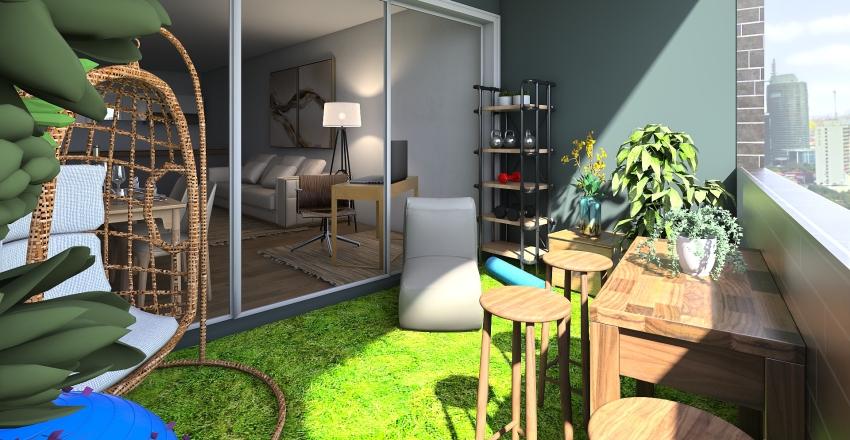 Balcony Garden Interior Design Render