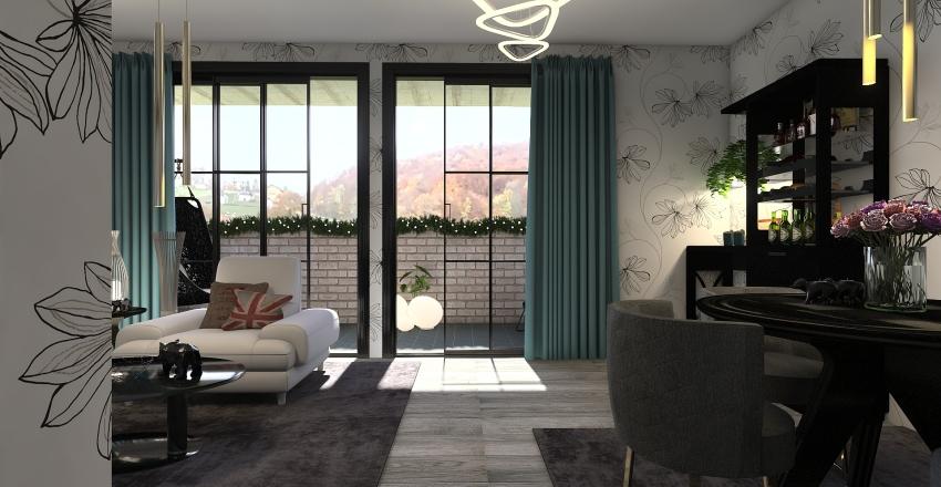 2 rum och kök Interior Design Render