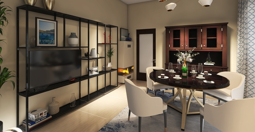 2 floors man and woman living areas Interior Design Render