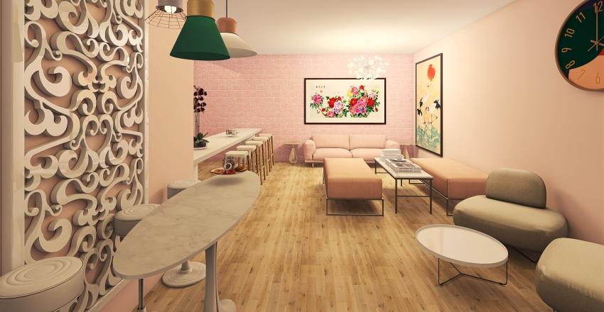 Pink Cafe Interior Design Render