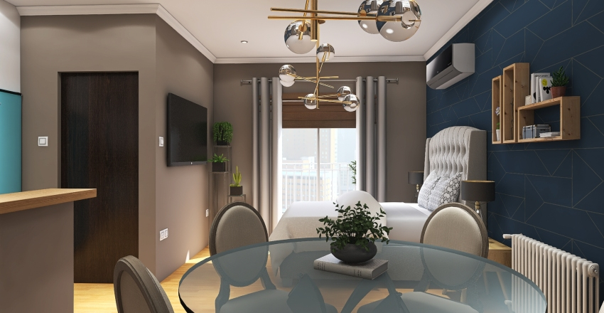 Monoambiente Interior Design Render