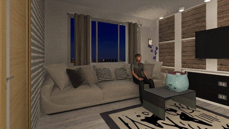 living room,kitchen Interior Design Render