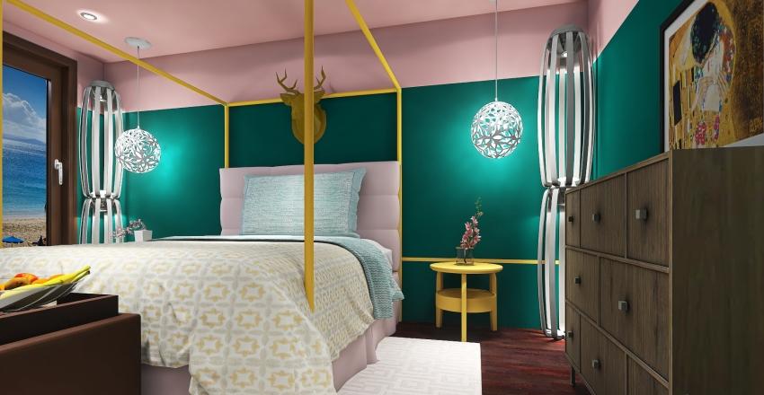 Dormitorio con dosel. Interior Design Render