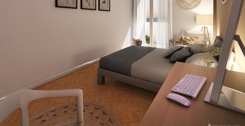 Chambre décor Zen,  avec coin bureau Interior Design Render