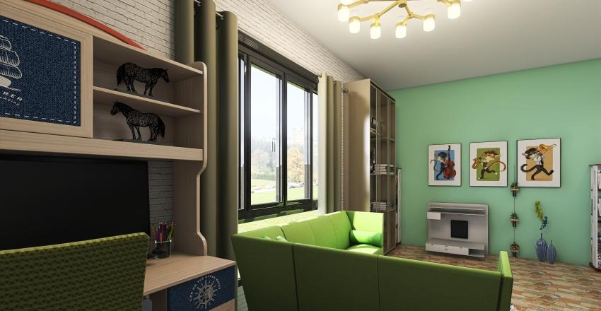 Mini Library Interior Design Render