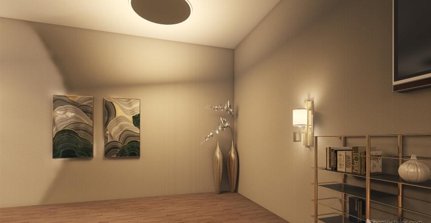 Deep Green and Golden Interior Design Render