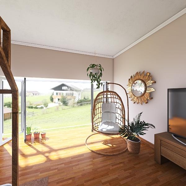 Single Person Beach House Interior Design Render