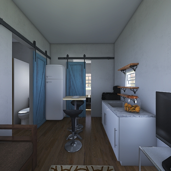 Low Income Container Home Interior Design Render