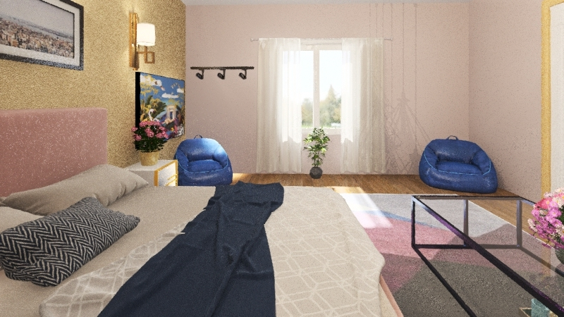 master bedroom+bathroom+clothith Interior Design Render