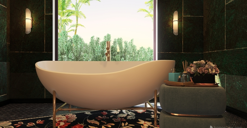 Luxury Bathroom in Green Interior Design Render