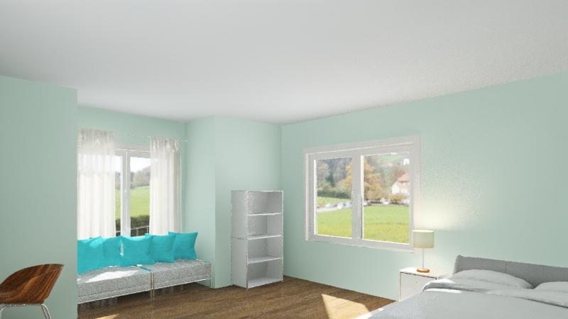 quarto tema ciano Interior Design Render