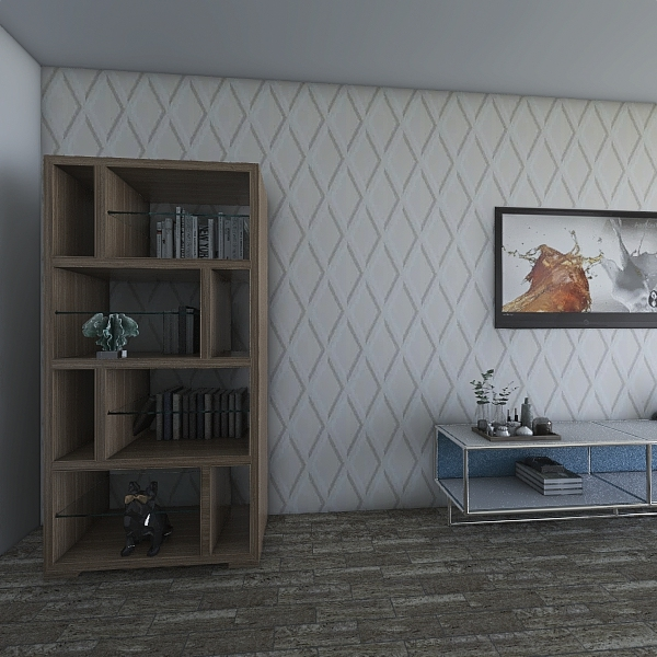 Salon cosy bleu gris Interior Design Render