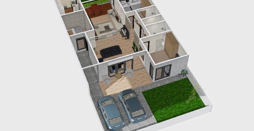 Rumah Putih parkir luar Interior Design Render