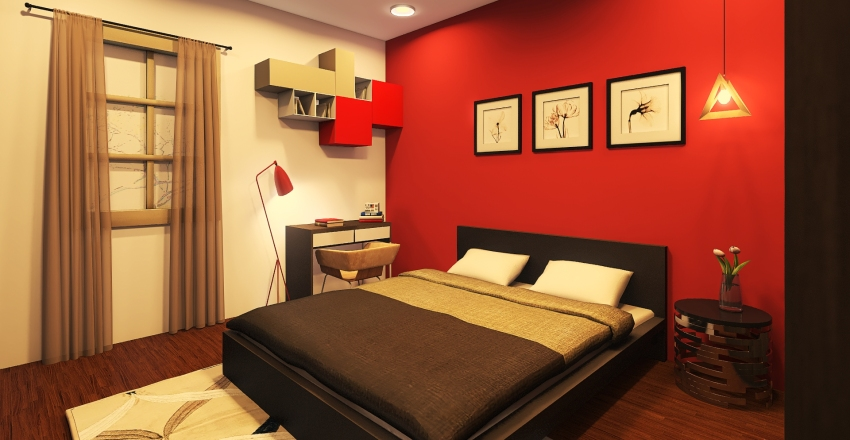beautiful red room Interior Design Render
