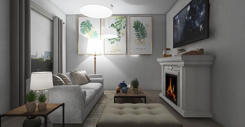 White and wood Interior Design Render
