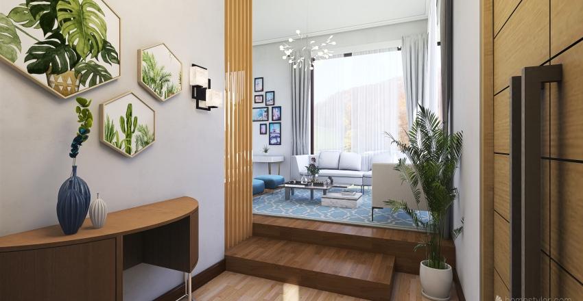 Modern Minimalist Living Room Interior Design Render