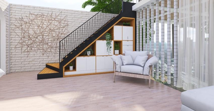 .white & wood loft house. Interior Design Render
