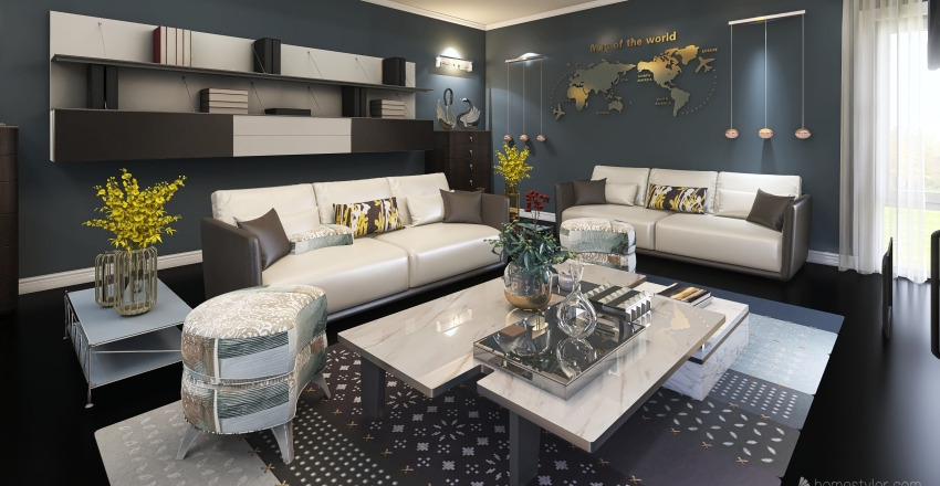 living rroom Interior Design Render