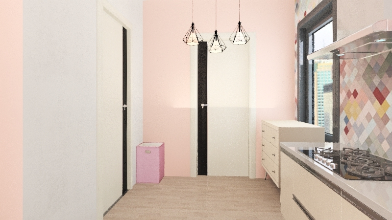 pink small house Interior Design Render