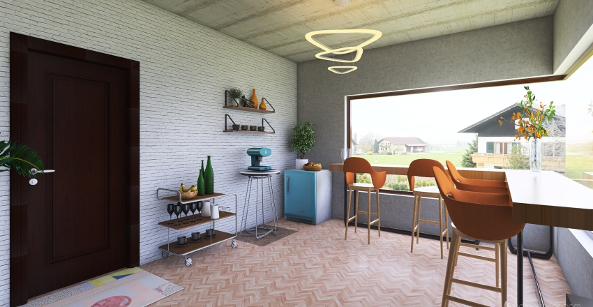 Retro Living Room Interior Design Render
