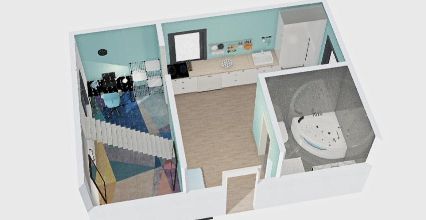 blue small house Interior Design Render