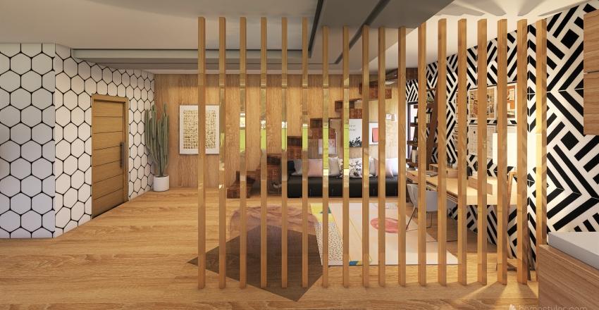 Wooden Apartment Interior Design Render