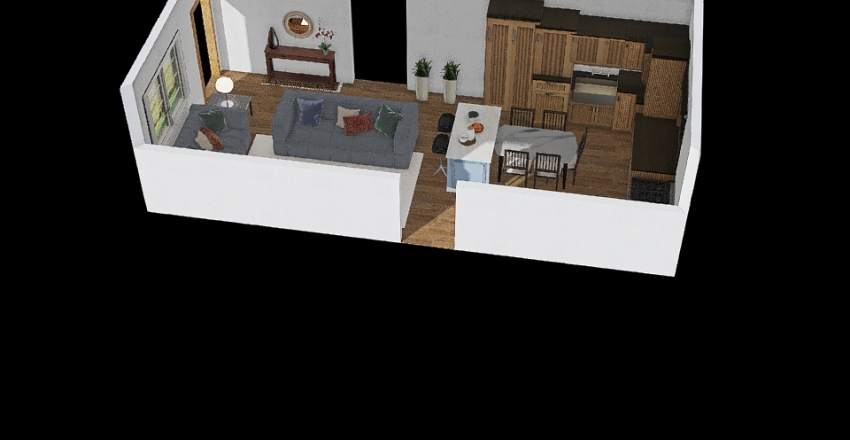 Sala_Cozinha2 Interior Design Render