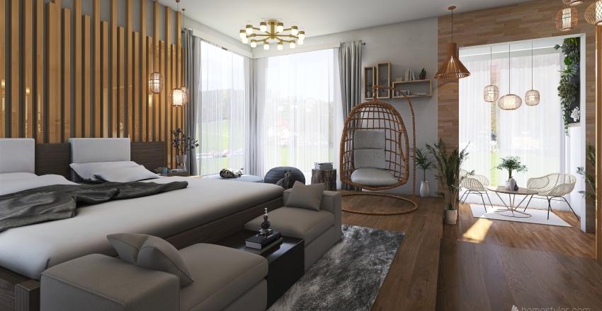 Bedroom: Natural Wood Theme Interior Design Render