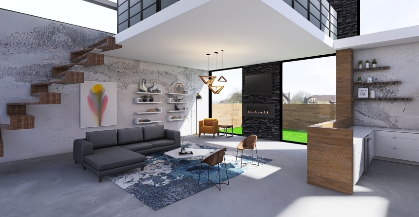 Student Home Interior Design Render
