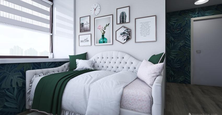 Elegant dorm room Interior Design Render