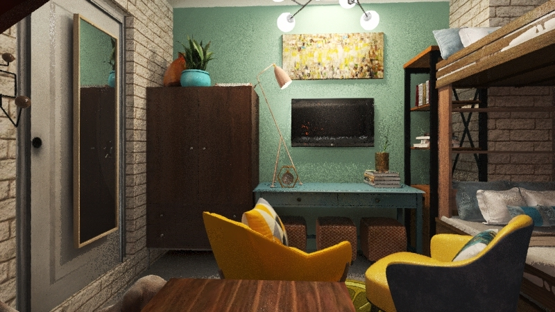20 SQM single-floor small apartment with playful interiors Interior Design Render