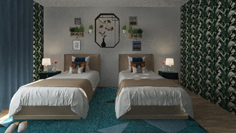 Natural Wood-Bedroom Interior Design Render